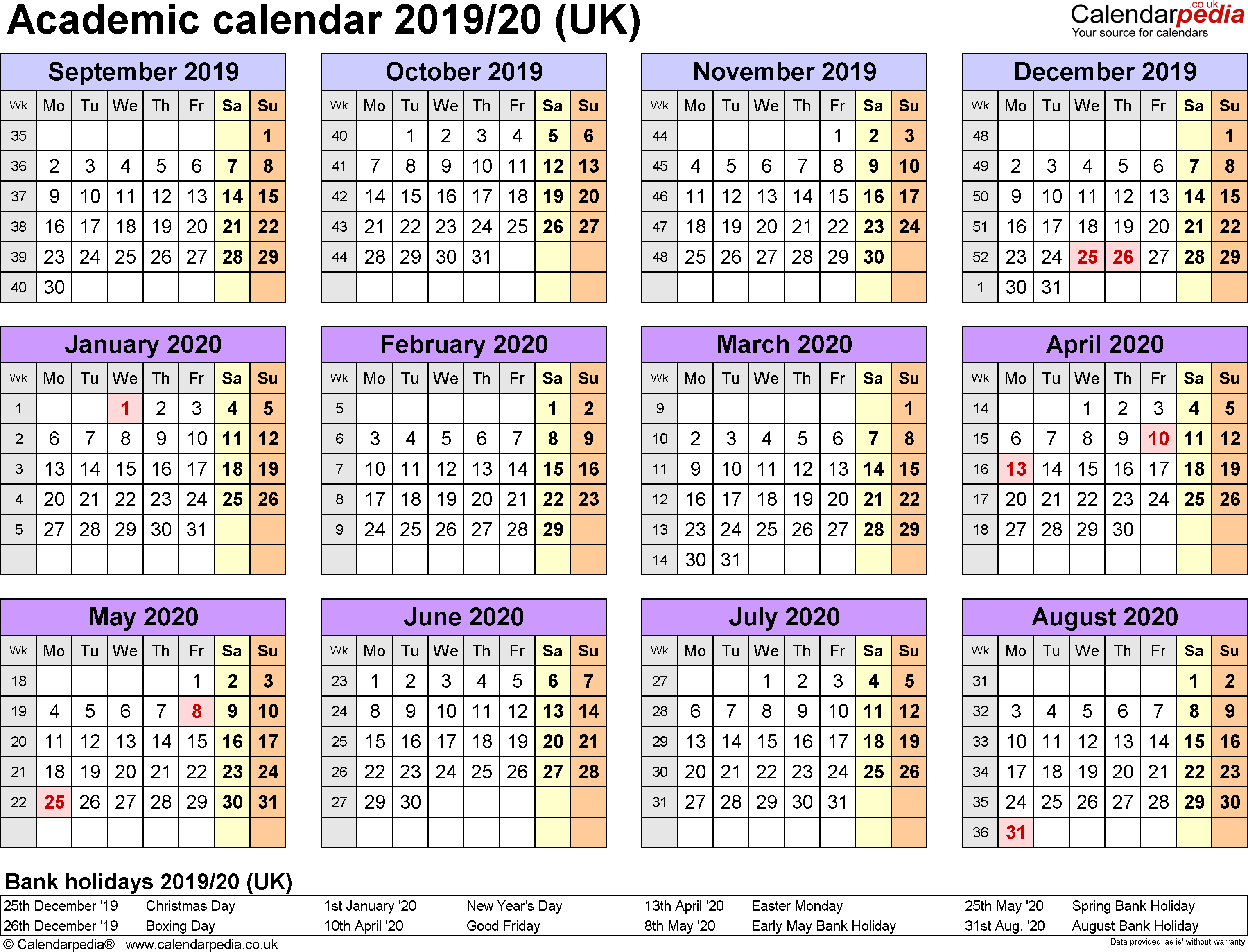 Academic Calendars 2019/2020 As Free Printable Word Templates with 2019-2020 Yearly Calendar Word Document