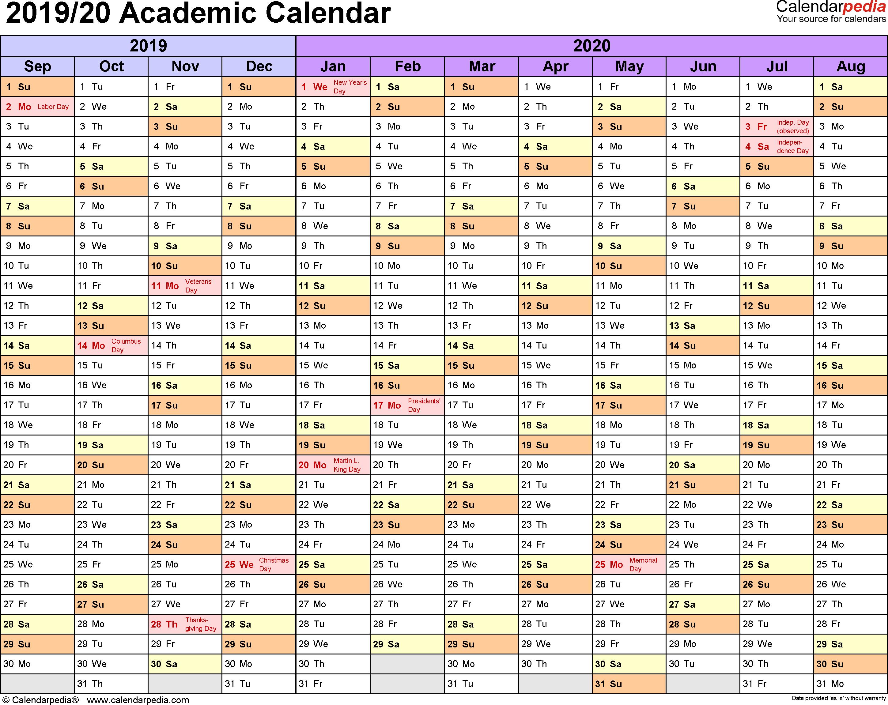 Academic Calendars 2019/2020 - Free Printable Excel Templates inside Calendar 2019 2020 Free Download