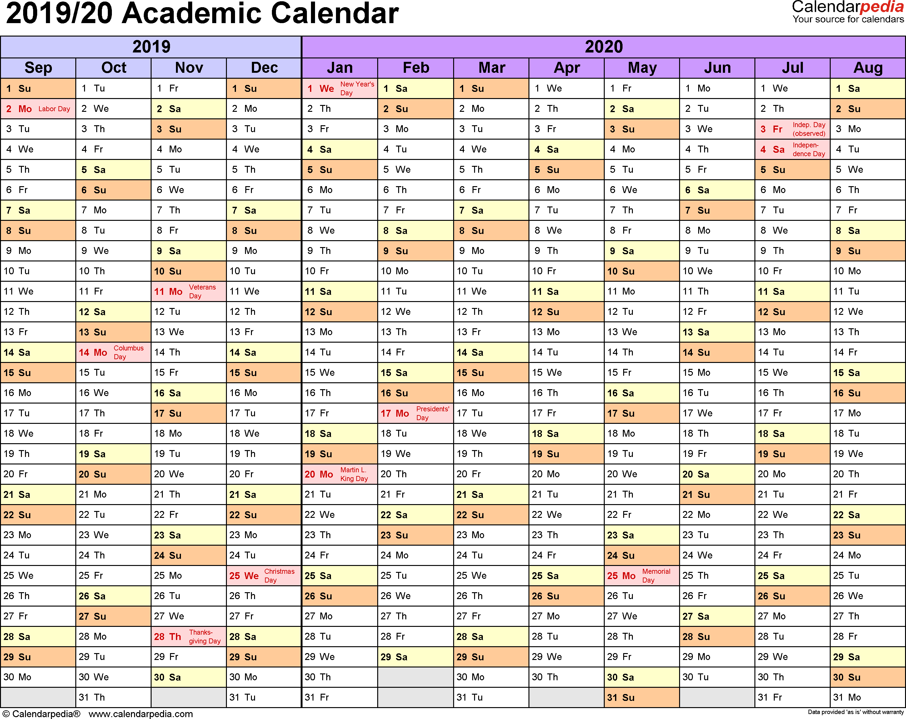 Academic Calendars 2019/2020 - Free Printable Excel Templates with Free School Year At A Glance 2019-2020