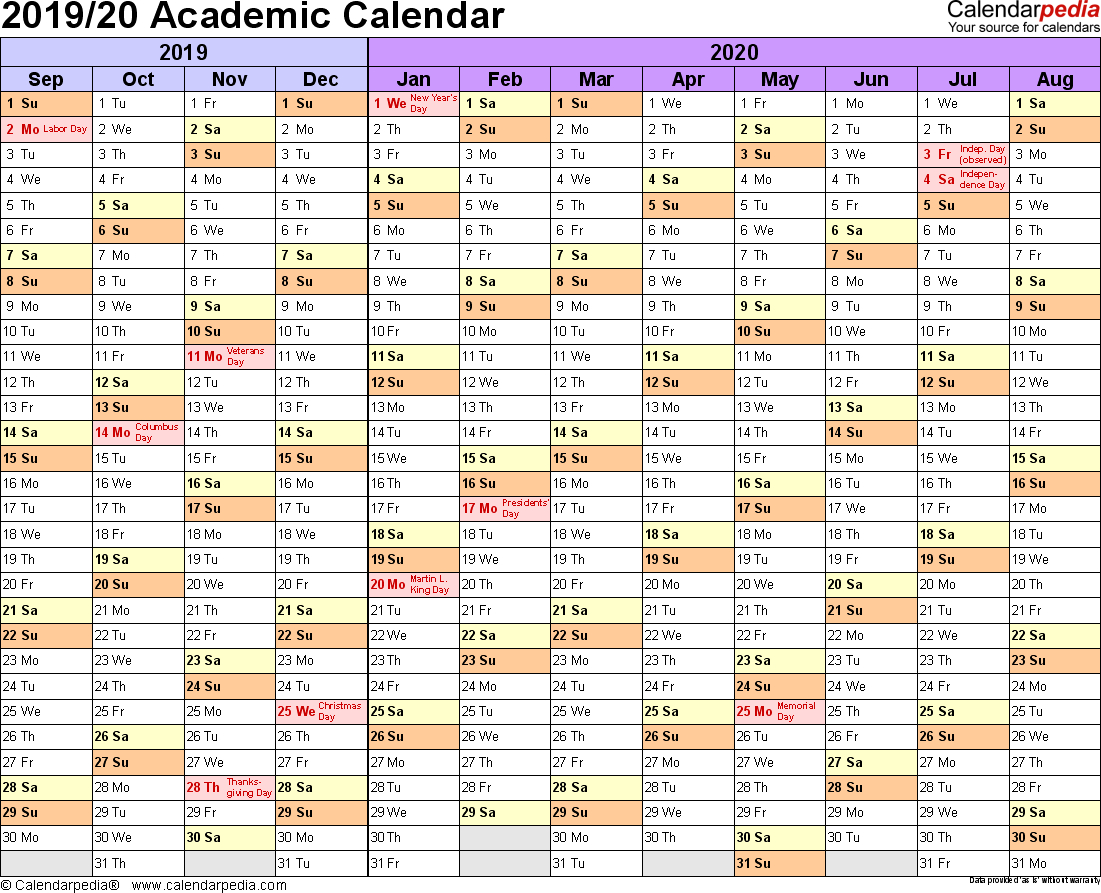 Academic Calendars 2019/2020 - Free Printable Word Templates for Template Academic Calendar With Notes