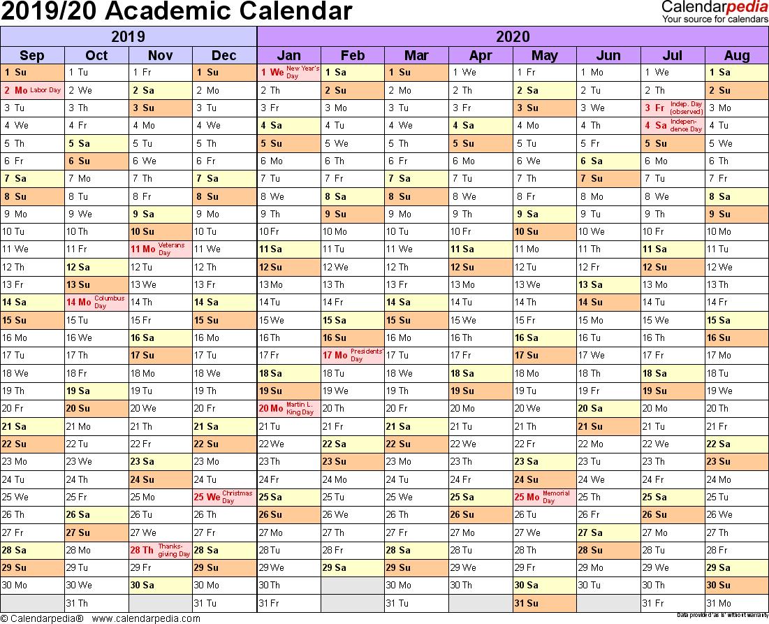 Academic Calendars 2019/2020 - Free Printable Word Templates in Academic Calendar Template