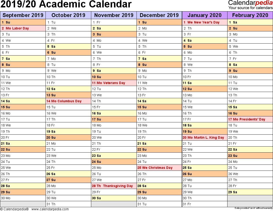 Academic Calendars 2019/2020 - Free Printable Word Templates in Year To A Page 2019/2020 Calender