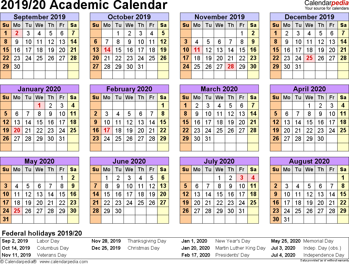 Academic Calendars 2019/2020 - Free Printable Word Templates inside 1 Page Calendar 2019-2020 With Major Holidays