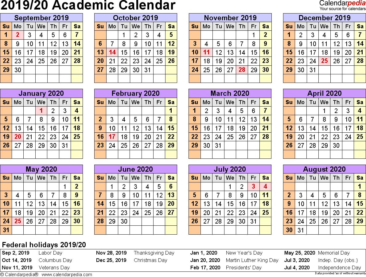 Academic Calendars 2019/2020 - Free Printable Word Templates inside Year Calendar 2019 2020 Editable