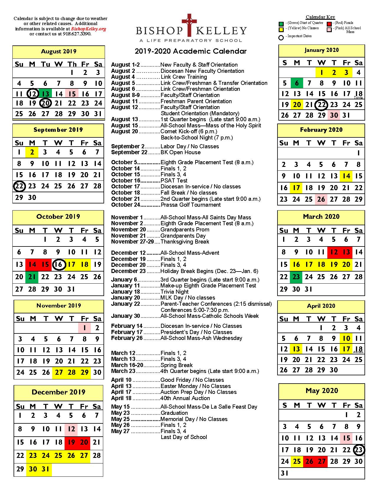 Academic Calendars | Bishop Kelley throughout Catholic Liturgical Calendar Year C 2019-2020