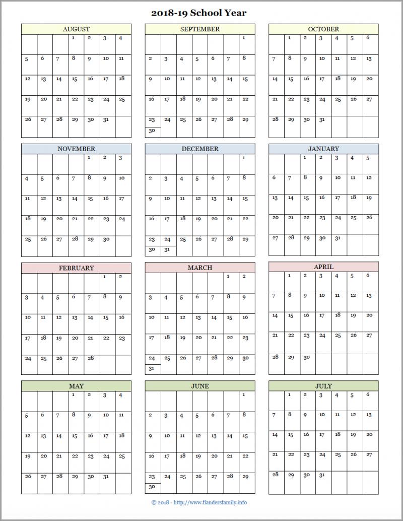 Academic Calendars For 2018-19 School Year (Free Printable for Calendar Blank Planner Months 18 School Year