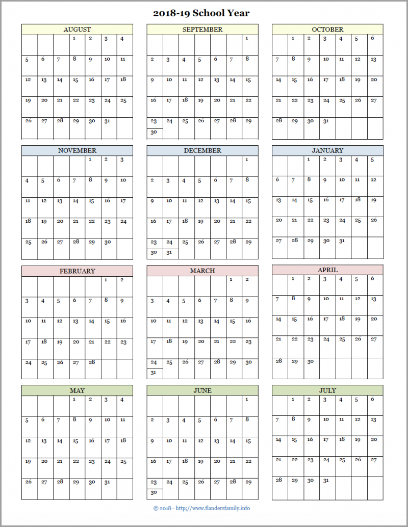 Academic Calendars For 2018-19 School Year (Free Printable inside Year At A Glance Calendar Template