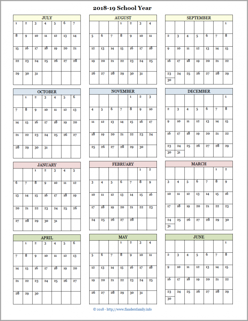Academic Calendars For 2018-19 School Year (Free Printable regarding Free Printable Homeschool Calendar 2019-2020 Year At A Glance
