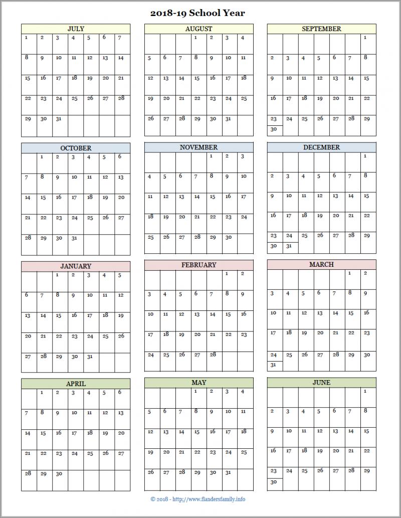 Academic Calendars For 2018-19 School Year (Free Printable with 2019- 2020 Academic Calendar Printable Empty Boxes