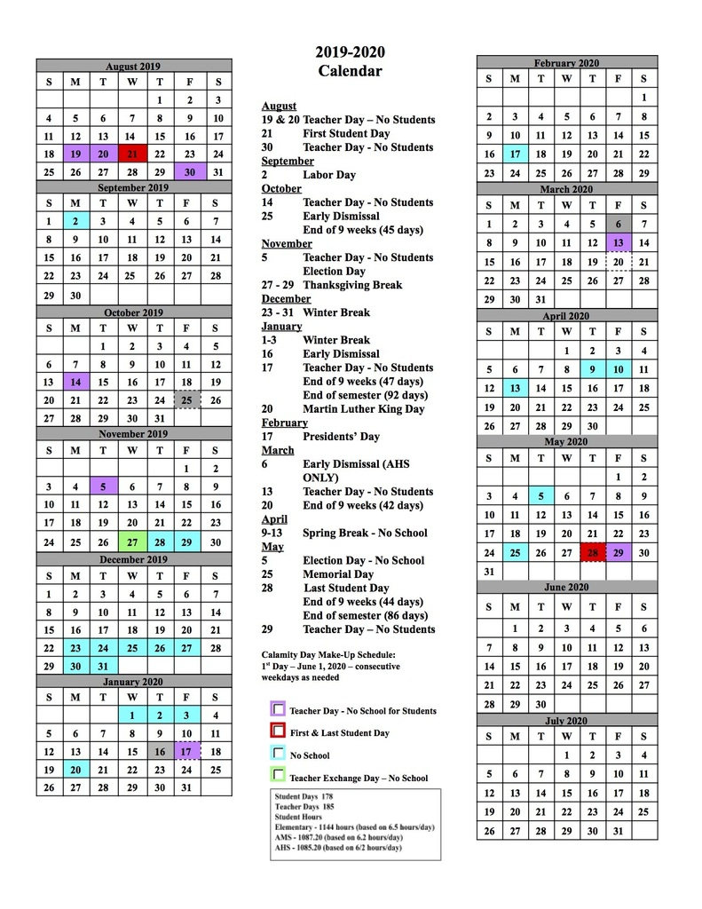 Alliance City School District inside Stephen F Austin Calendar 2019 - 2020