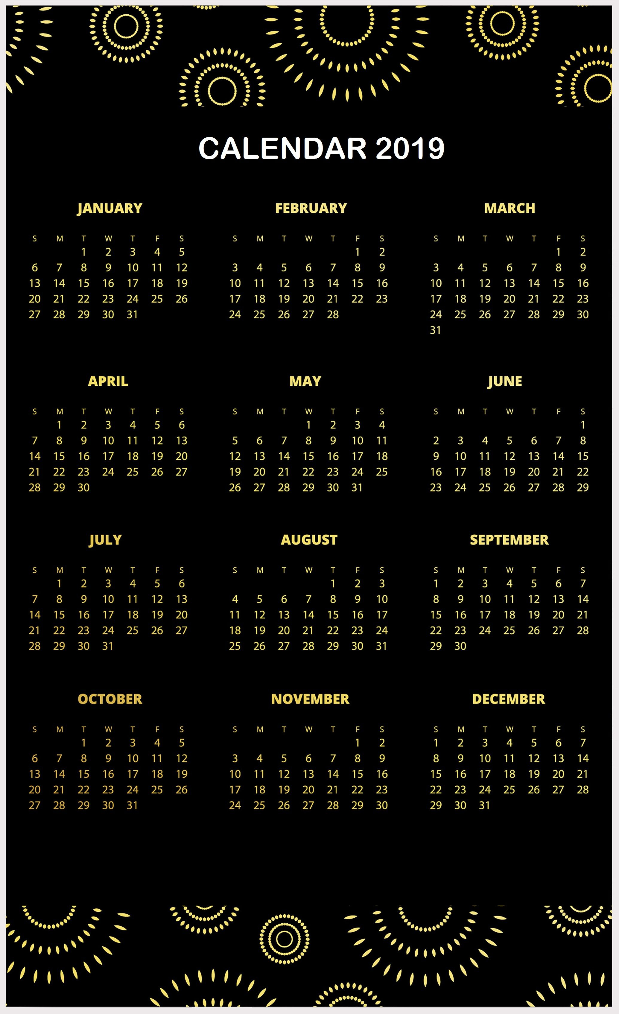 Amazing 2019 Calendar Template One Page Design Layouts | Calendar in Null Blank Calendar To Print