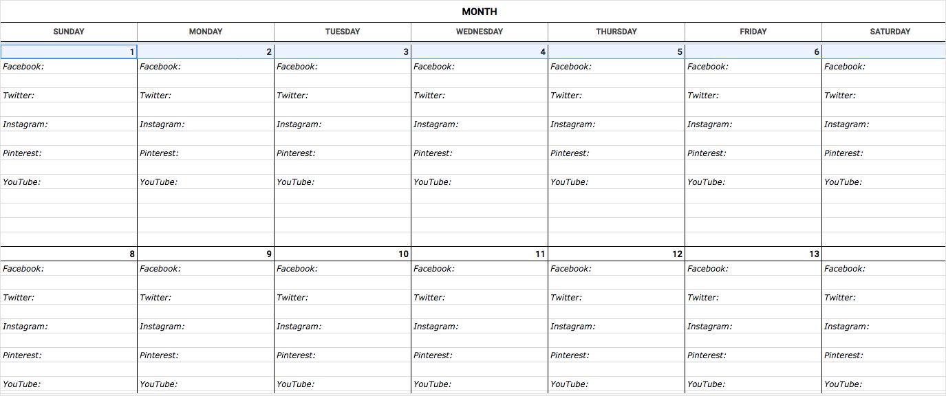 An Epic Social Media Content Calendar For 2019 (Template) in Social Media Calendar Template