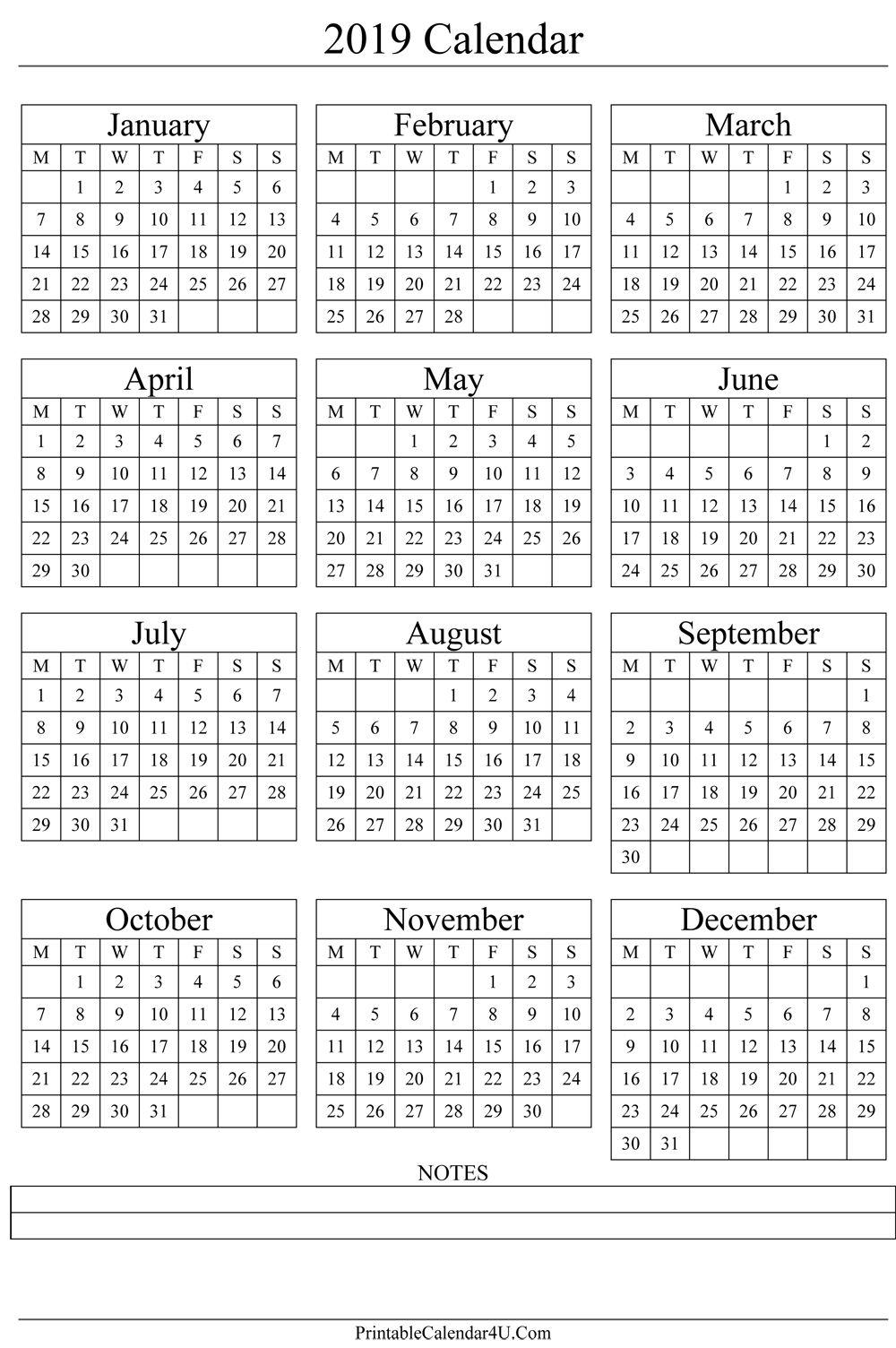 Annual Calendar 2019 Portrait Printable Calendar 2017 | Gift Ideas in Free Yearly 5.5 X 8.5 Calendar 2020
