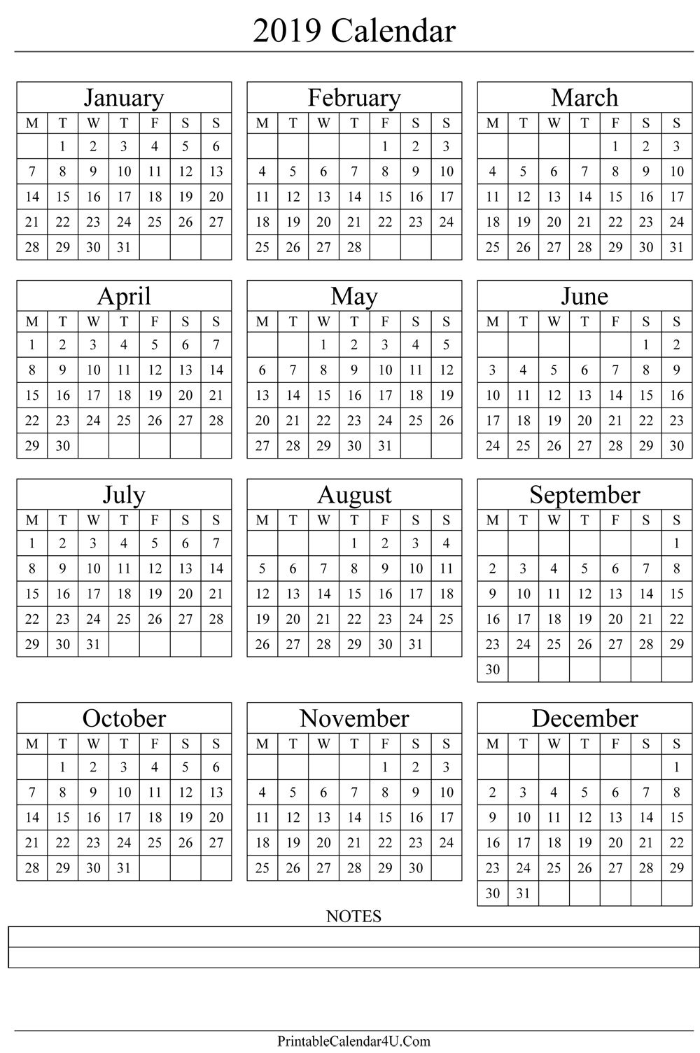 Annual Calendar 2019 Portrait Printable Calendar 2017 | Gift Ideas throughout Blank Year Calendar On One Page