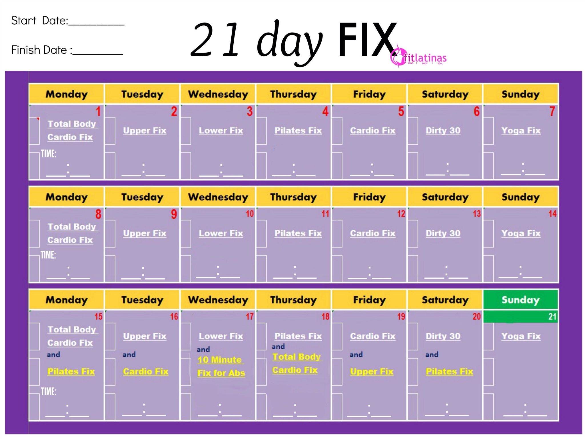 Another Easy Printable Chart | Fitness | 21 Day Fix Workouts for 30 Day Workout Calendar Template