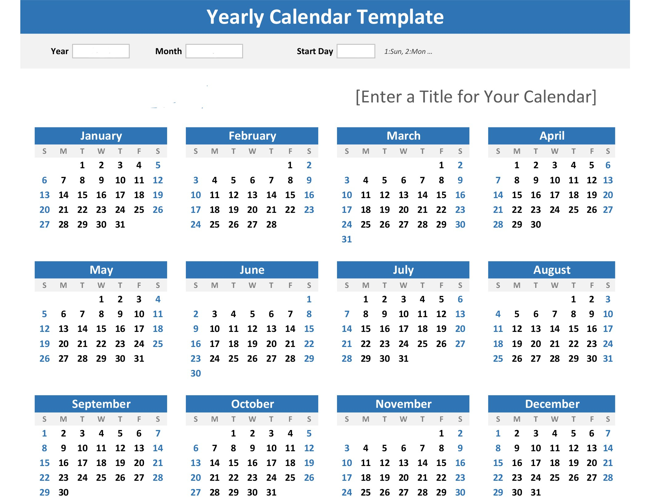 Any Year At A Glance Calendar (Landscape) pertaining to Year At A Glance Calendar Template