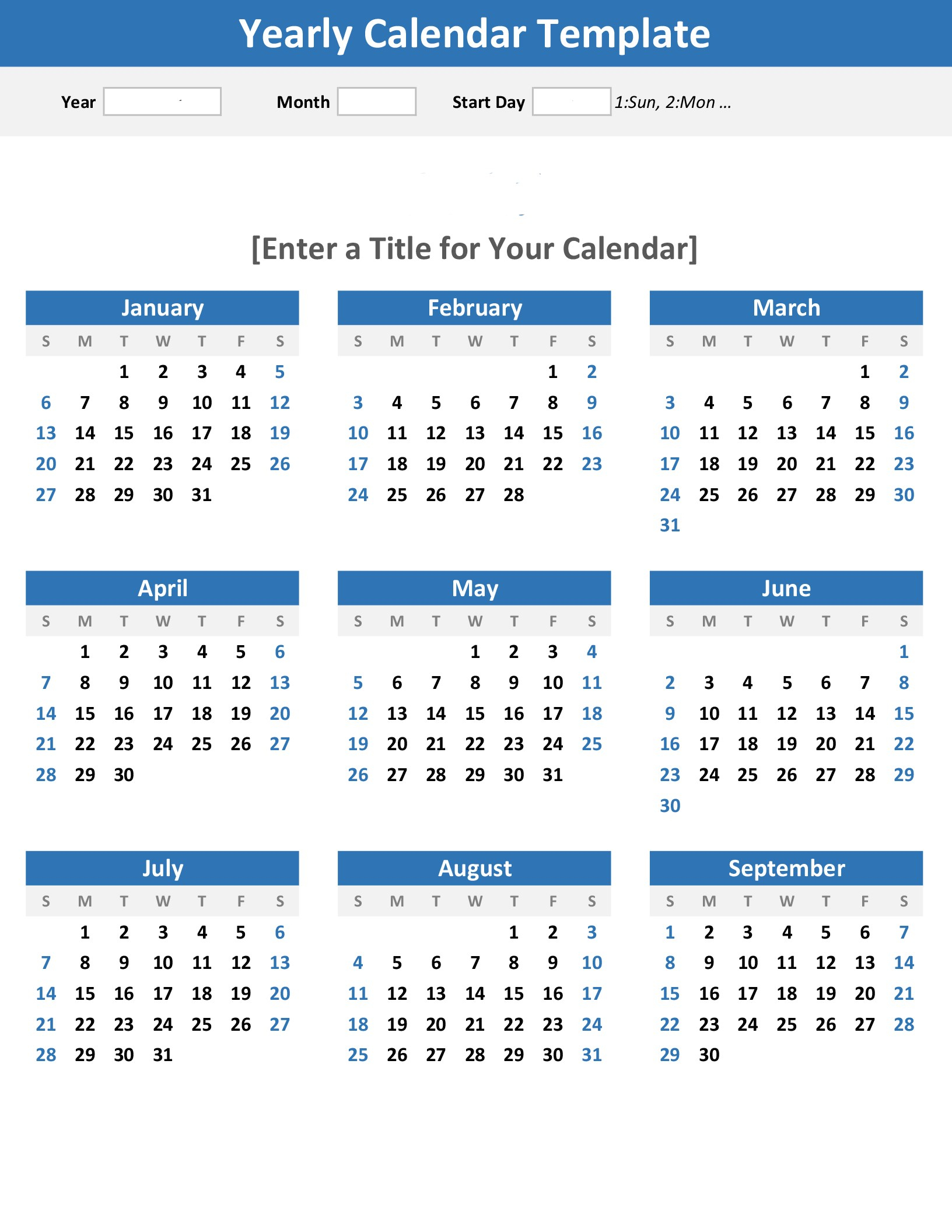 Any Year At A Glance Calendar (Portrait) for Blank Year At A Glance Calendar Template