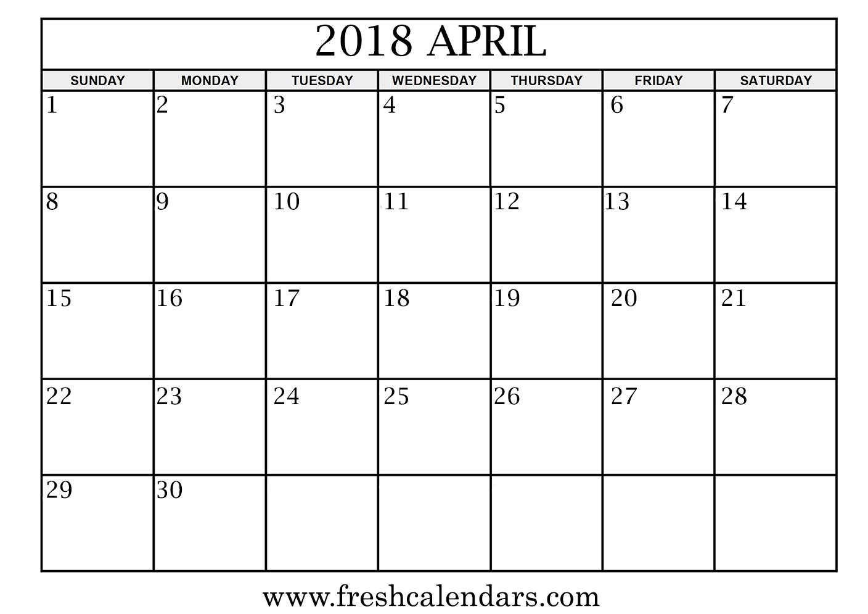 April 2018 Calendar Printable - Fresh Calendars throughout Monday - Sunday Calendar Template