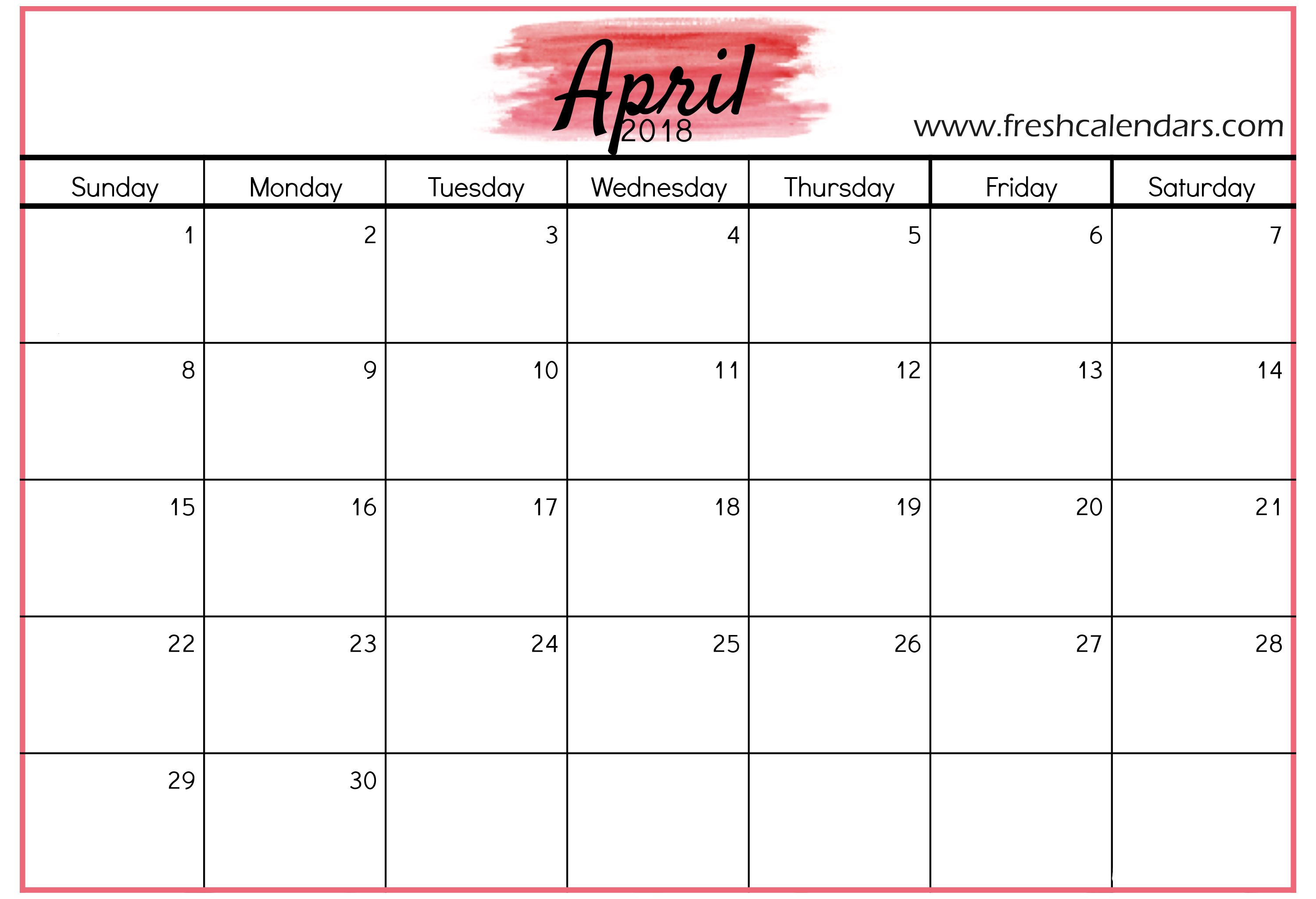 April 2018 Calendar Printable - Fresh Calendars with regard to April Calendar Template