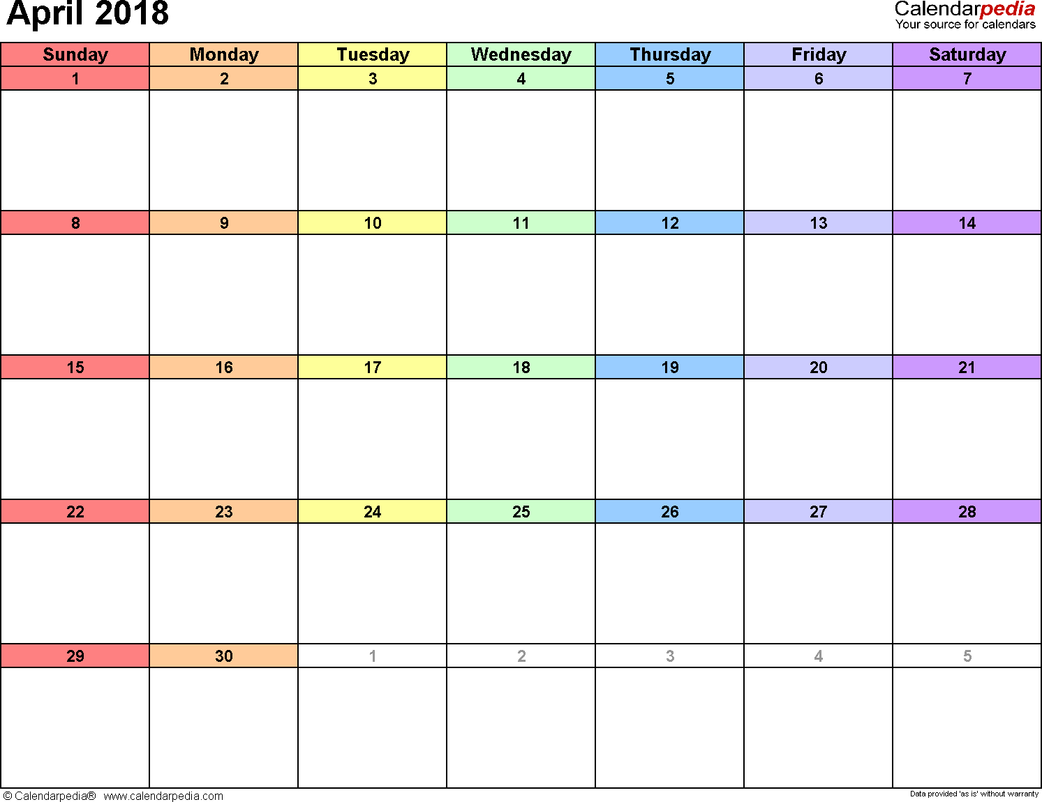 April 2018 Calendars For Word, Excel & Pdf pertaining to April Calendar Template