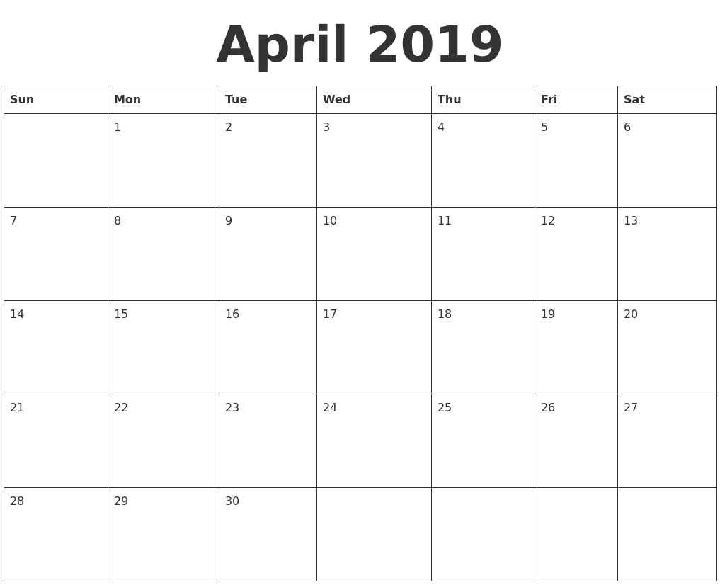 April 2019 Blank Calendar Template throughout April Calendar Template