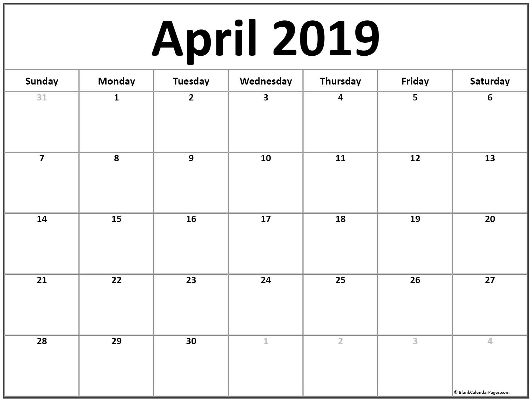 April 2019 Calendar | Free Printable Monthly Calendars for Mini Blank June And July Calendar