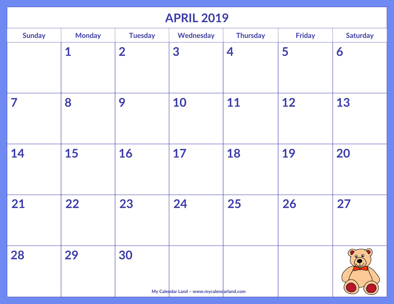 April 2019 Calendar - My Calendar Land with Monthly Calendar Template Kids