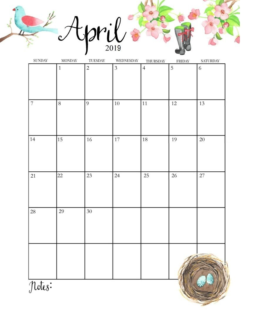 April 2019 Calendar Printable Template With Holidays with regard to 2019 2020 Girly Calendar Printable