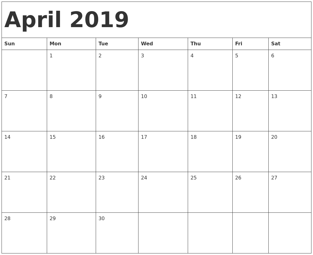 April 2019 Calendar Template with regard to April Calendar Template