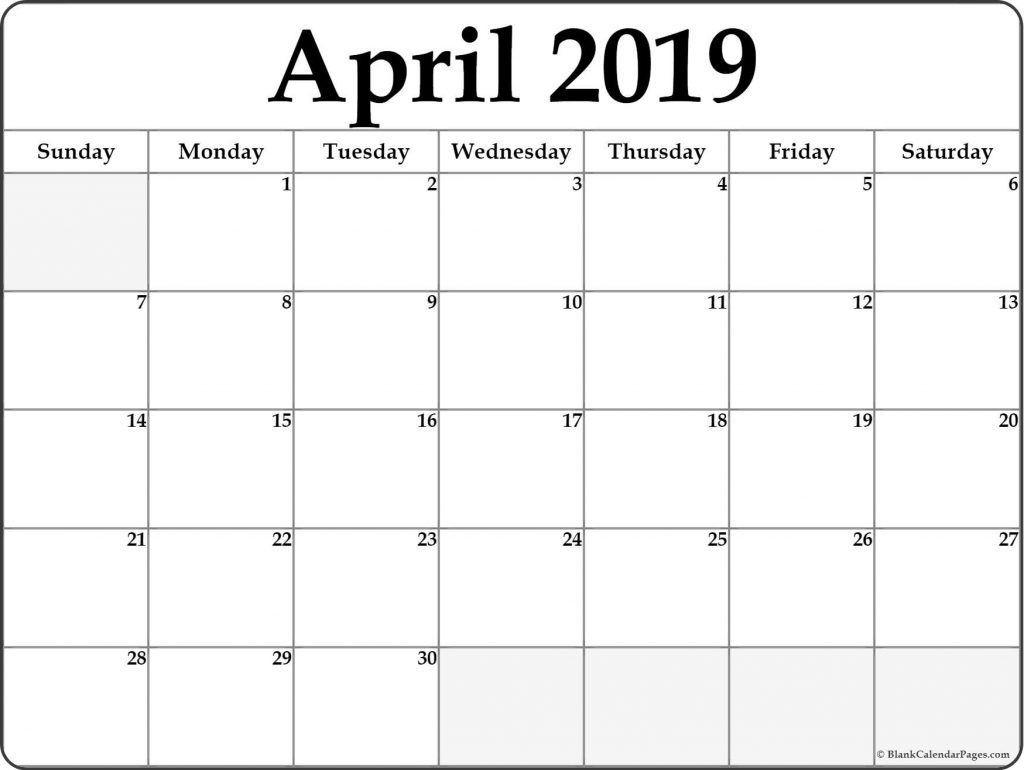 April 2019 Calendar Template Word #april #april2019 with regard to Blank Printable Monthly Calendar