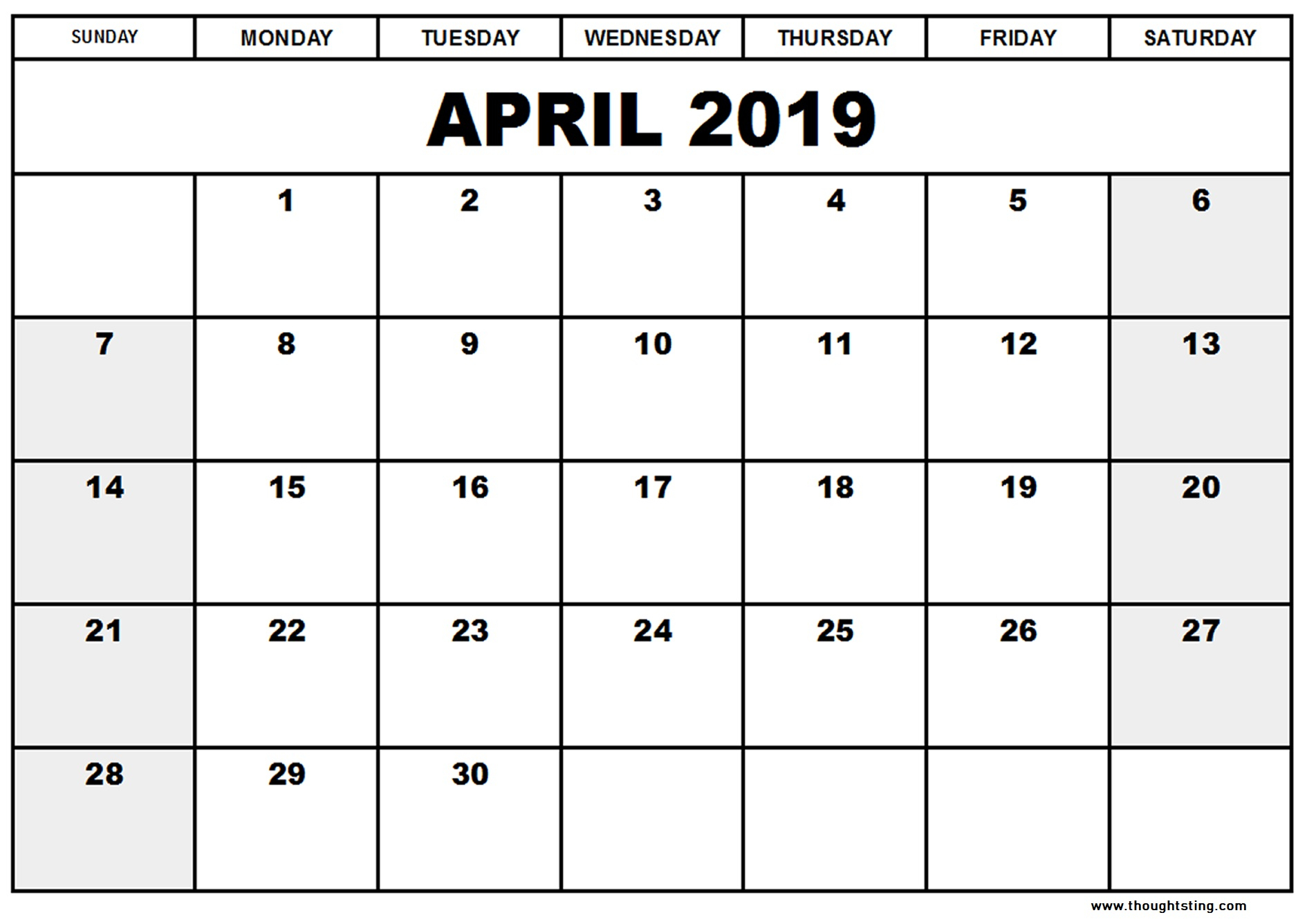 April 2019 Calendar Template Word, Excel, Pdf - Free Printable with Pretty Calendar Template Printable March