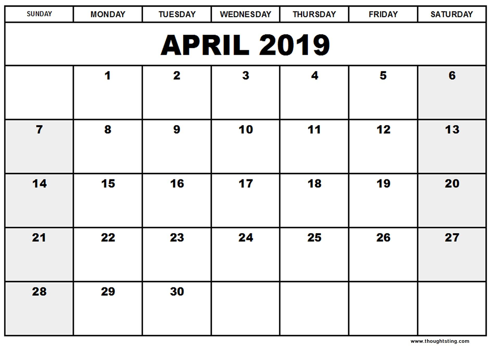 April 2019 Calendar Template Word, Excel, Pdf - Free Printable within Word Calendar Template Excel