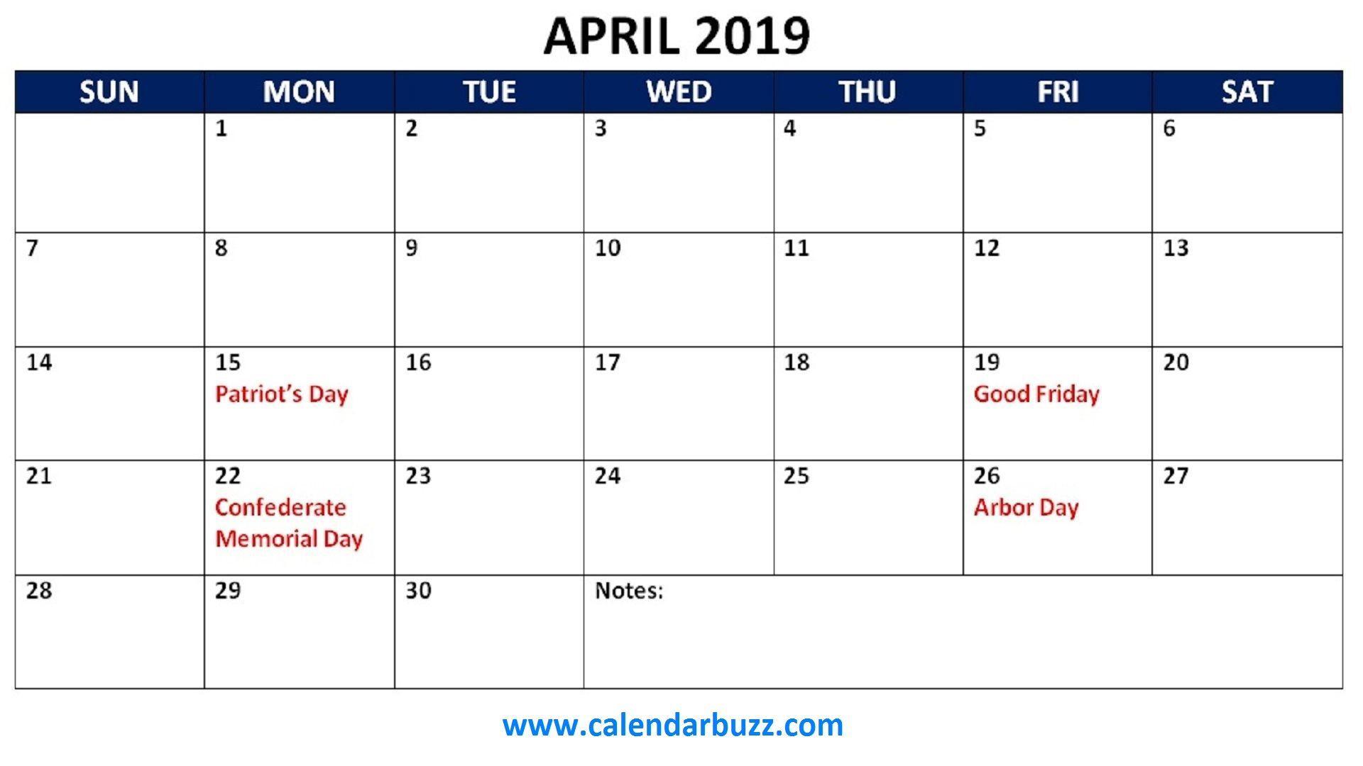 April 2019 Calendar With Holidays - Free Printable Calendar, Blank in Calendar With Holidays Printable Templates