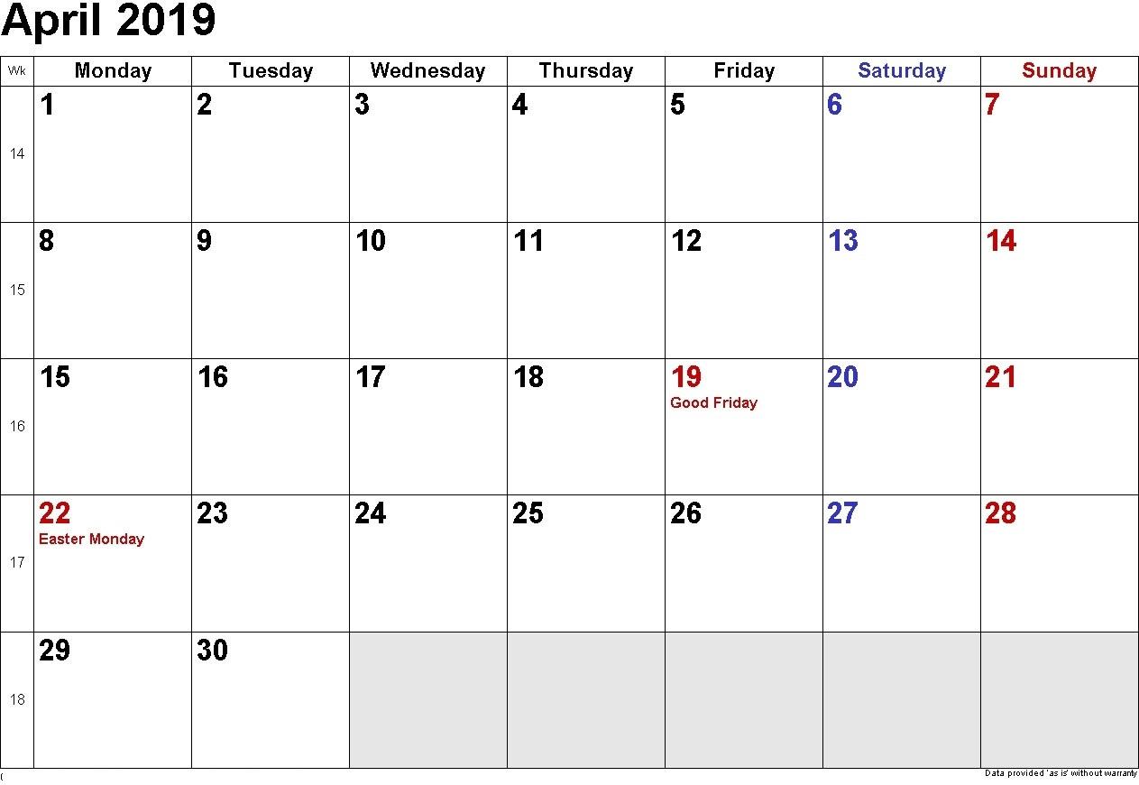 April 2019 Calendar With Holidays - Free Printable Calendar within Blank Calendar Print-Outs Fill In With Holidays
