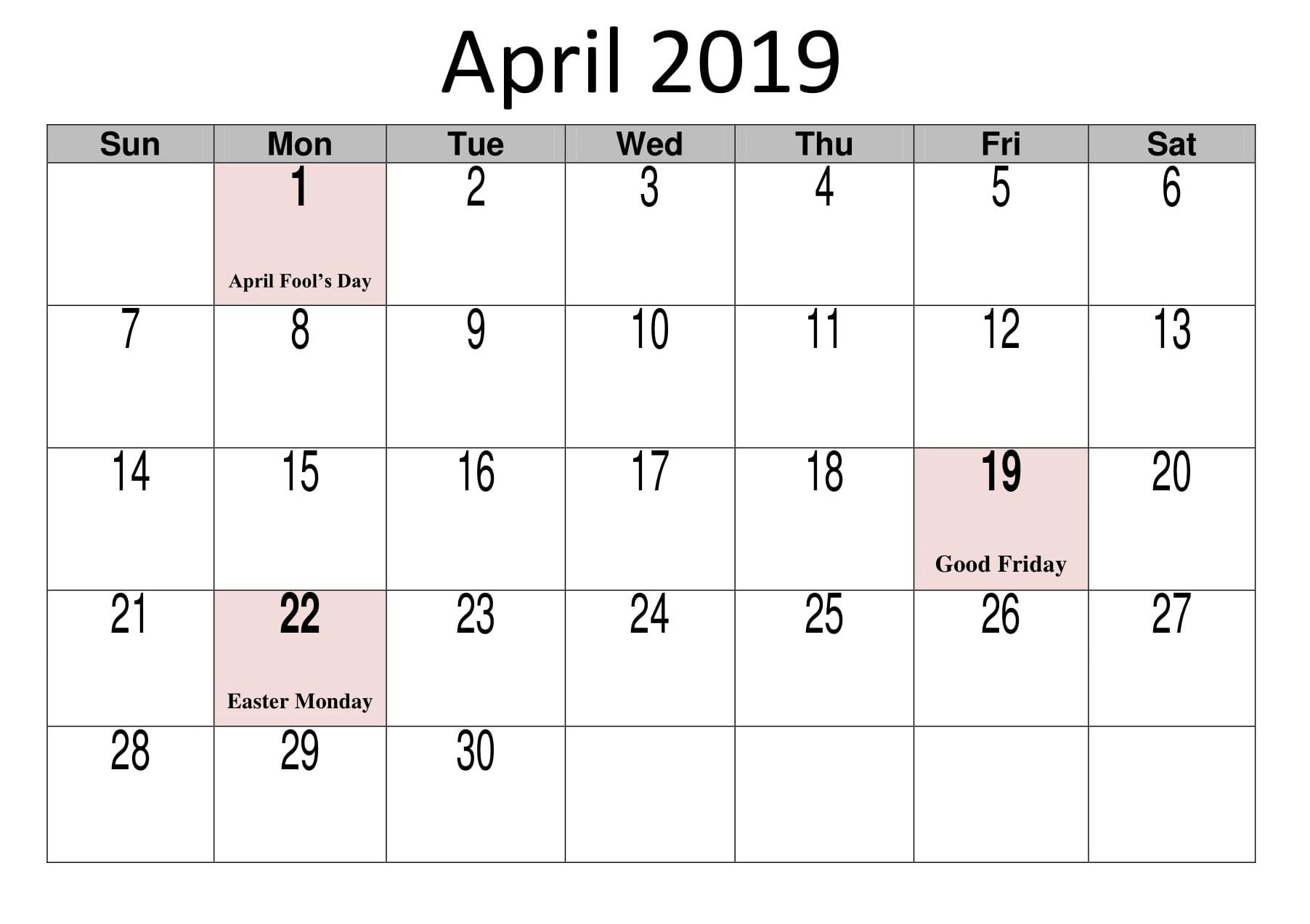 April 2019 Calendar With Holidays Template - Free Printable Calendar intended for Calendar With Holidays Templates