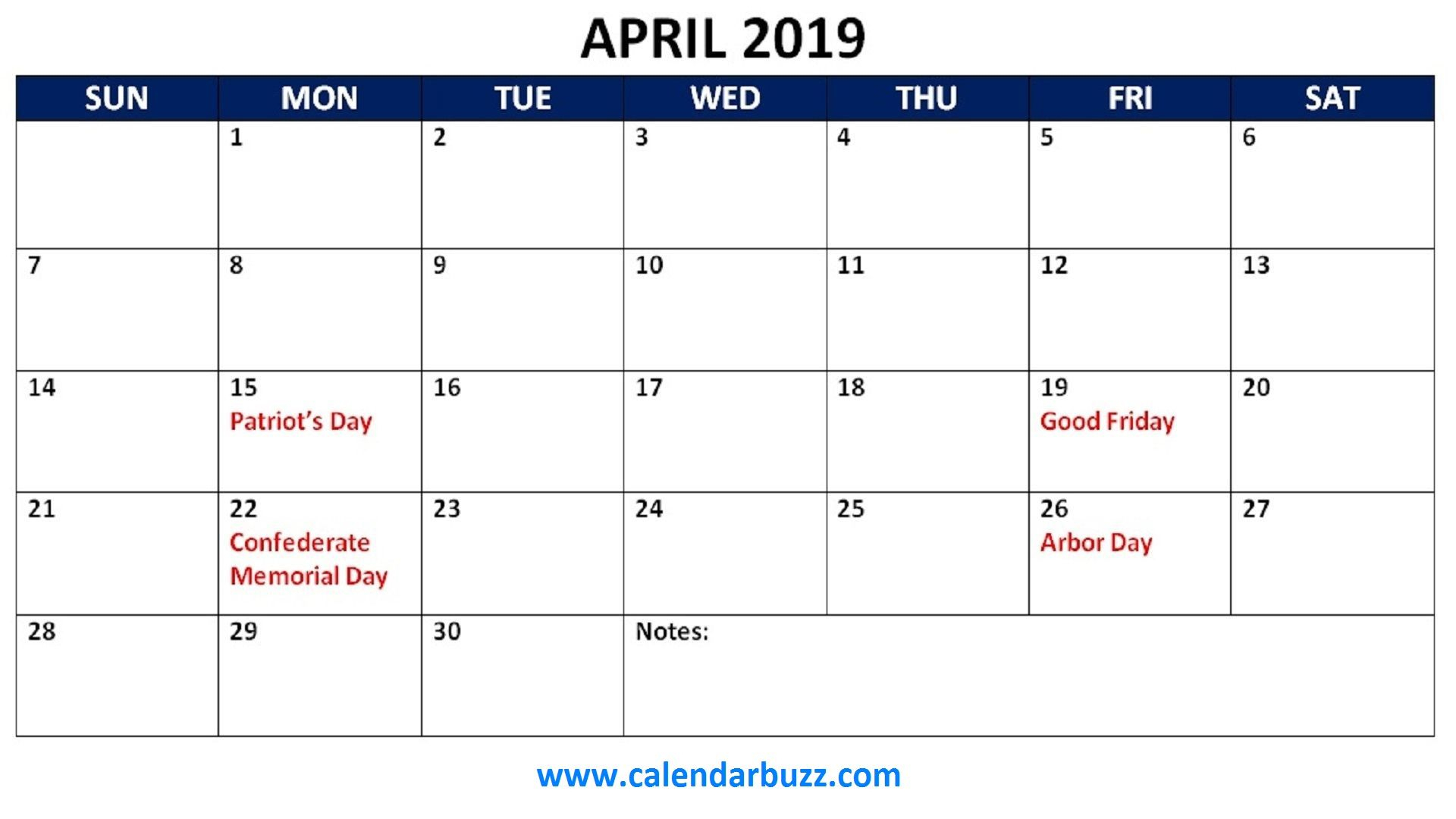 April 2019 Holidays Calendar Printable | 2019 Calendars | Holiday pertaining to Blank Calendar Print-Outs Fill In With Holidays