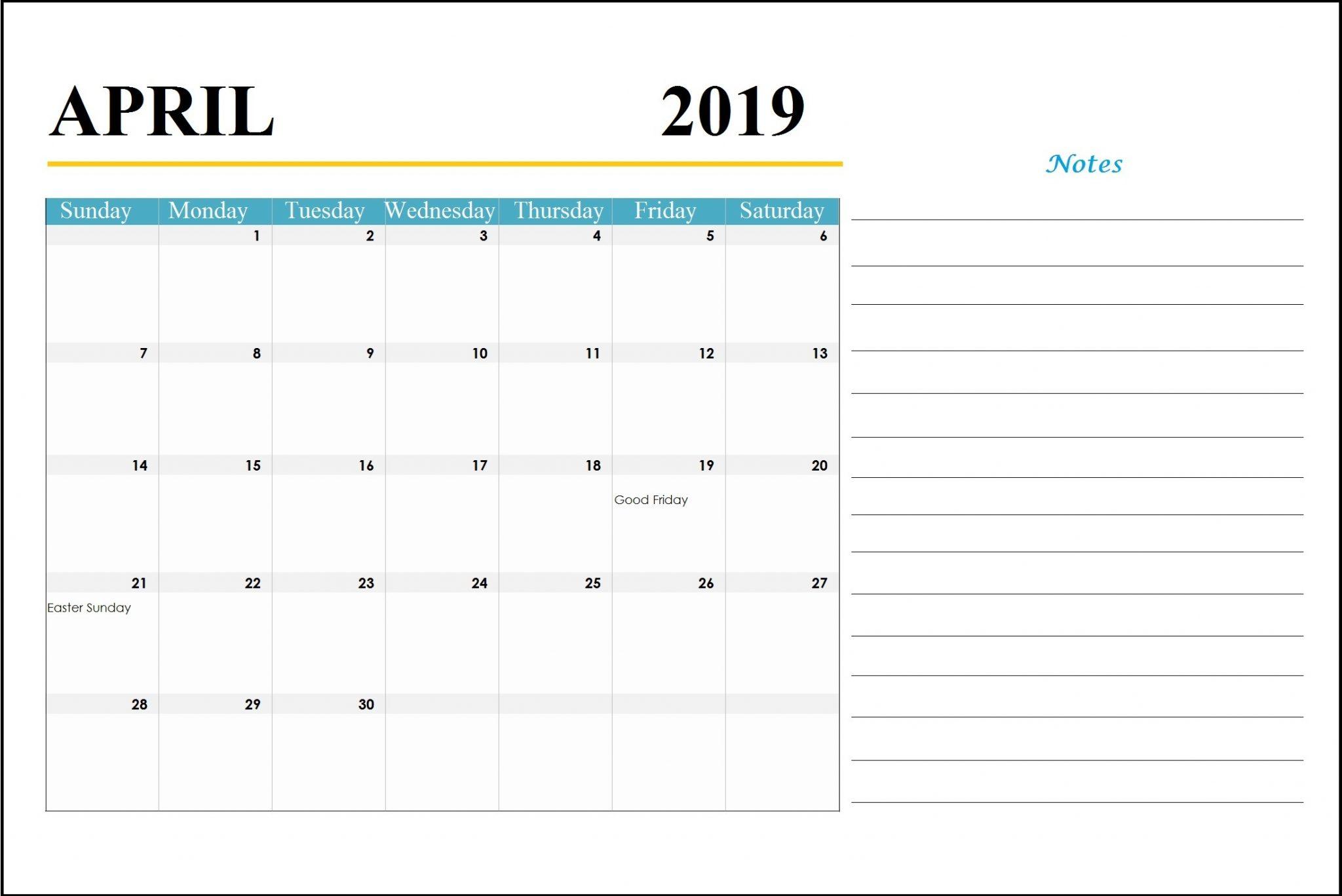 April 2019 Holidays Calendar With Notes - Printable Calendar 2019 throughout Blank Calendar Template With Notes
