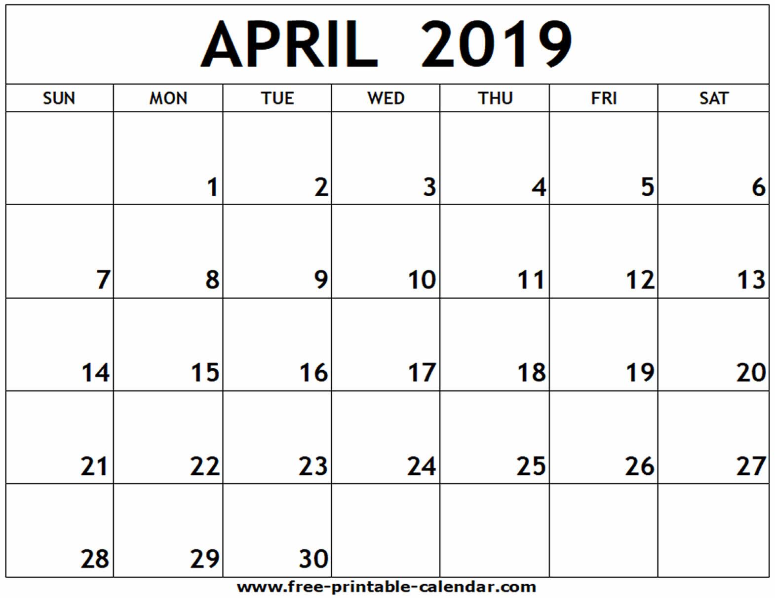 April 2019 Printable Calendar - Free-Printable-Calendar in Print Off A Blank Calendar For