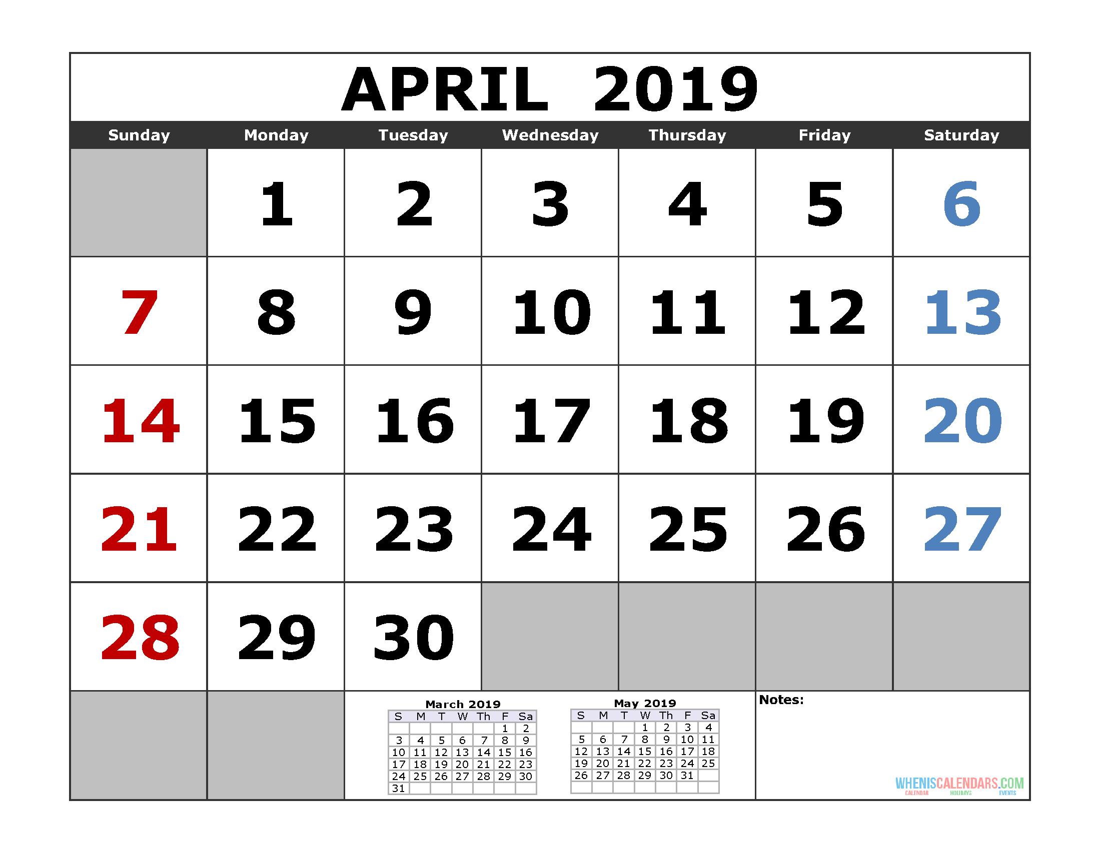 April 2019 Printable Calendar Template (3 Month Calendar) | Free within Printable 3 Month April May June Calendar Template