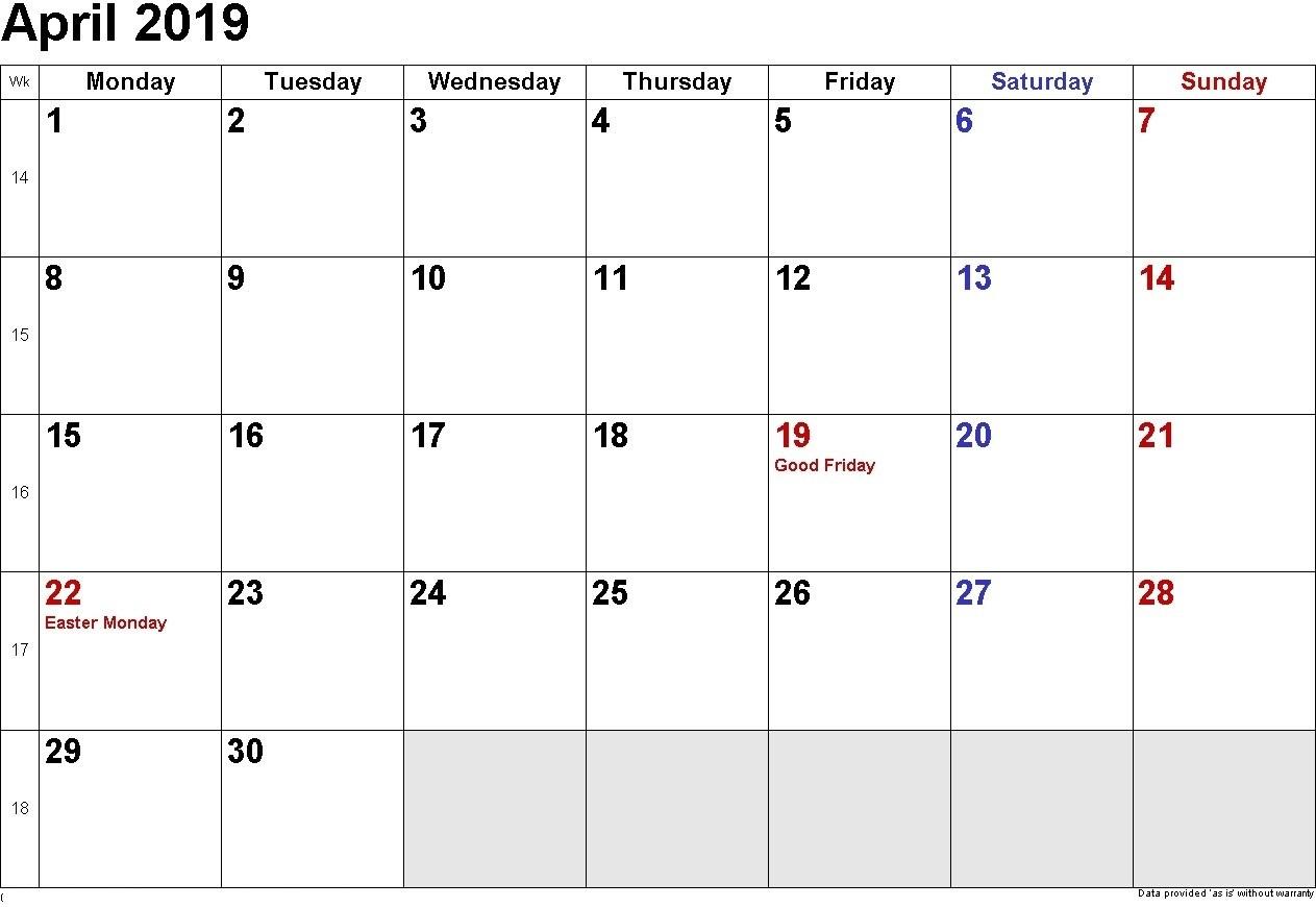 April 2019 Printable Calendar Templates - Free Blank, Holidays for Free Printable Calendar Templates Month