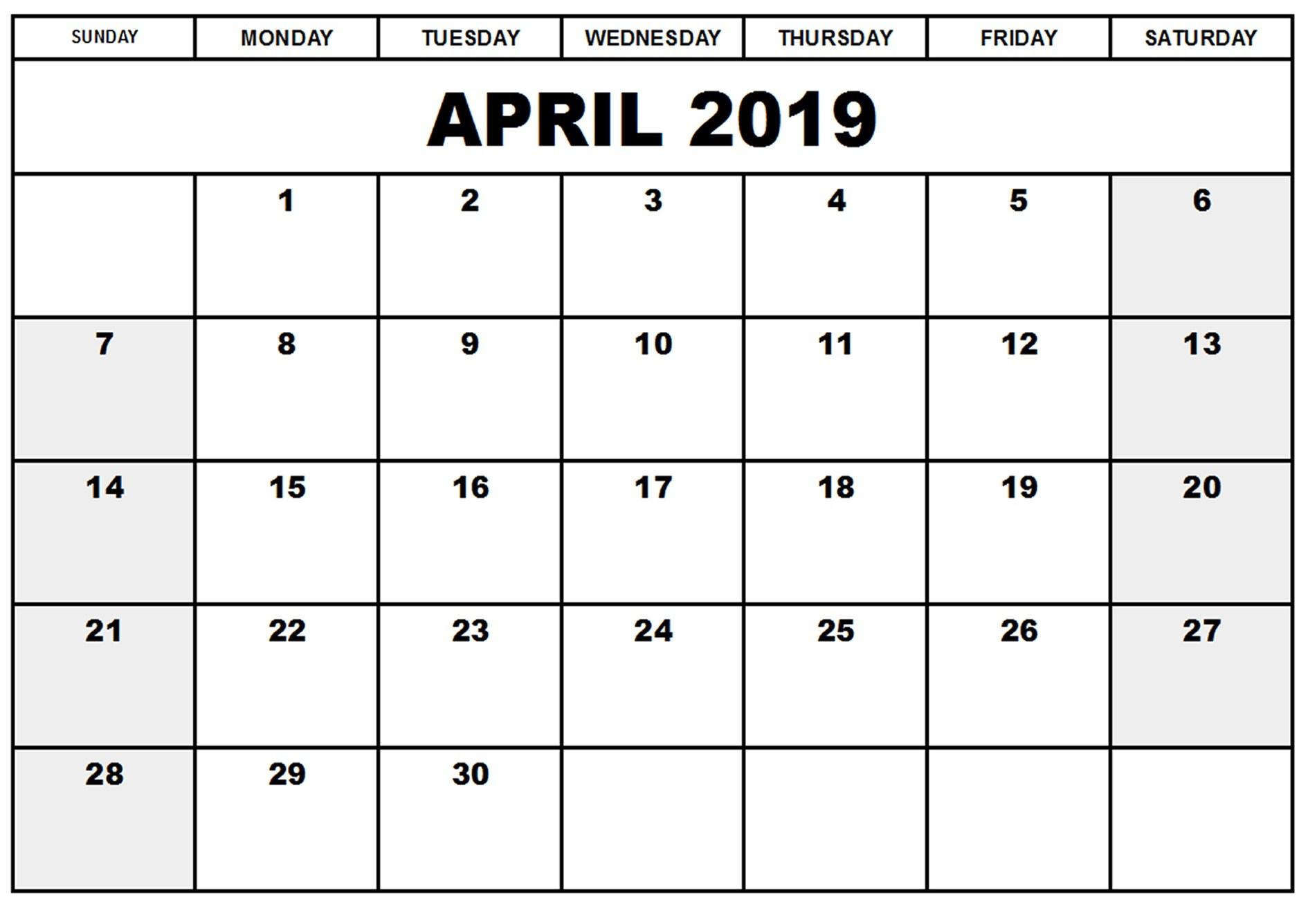 April 2019 Printable Calendar Templates - Free Blank, Holidays regarding Free Blank Calendar Sheets