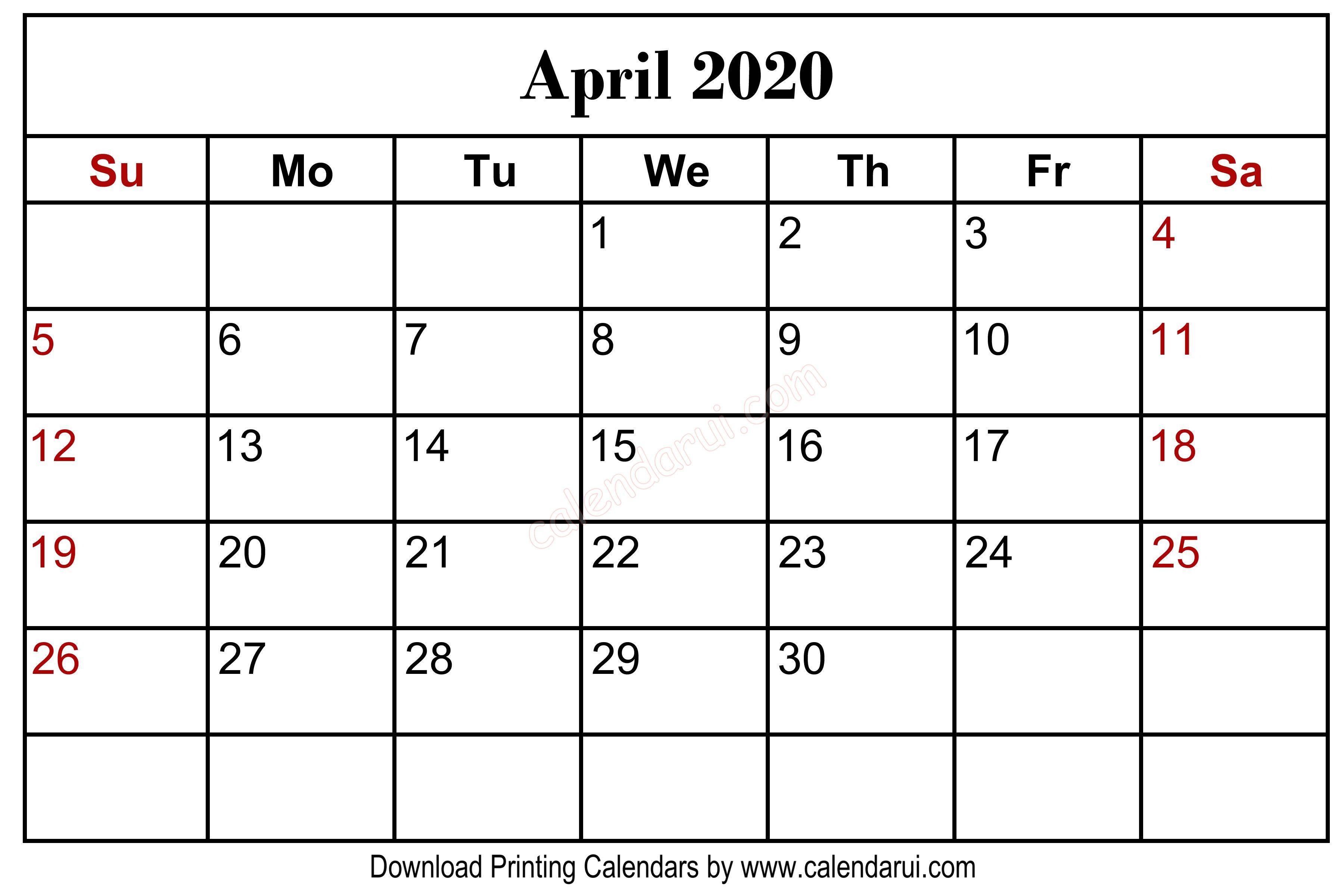 April 2020 Blank Calendar Printable Centre Header | Monthly Calendar with 11 X 8.5 Calendar Pages 2020 Free
