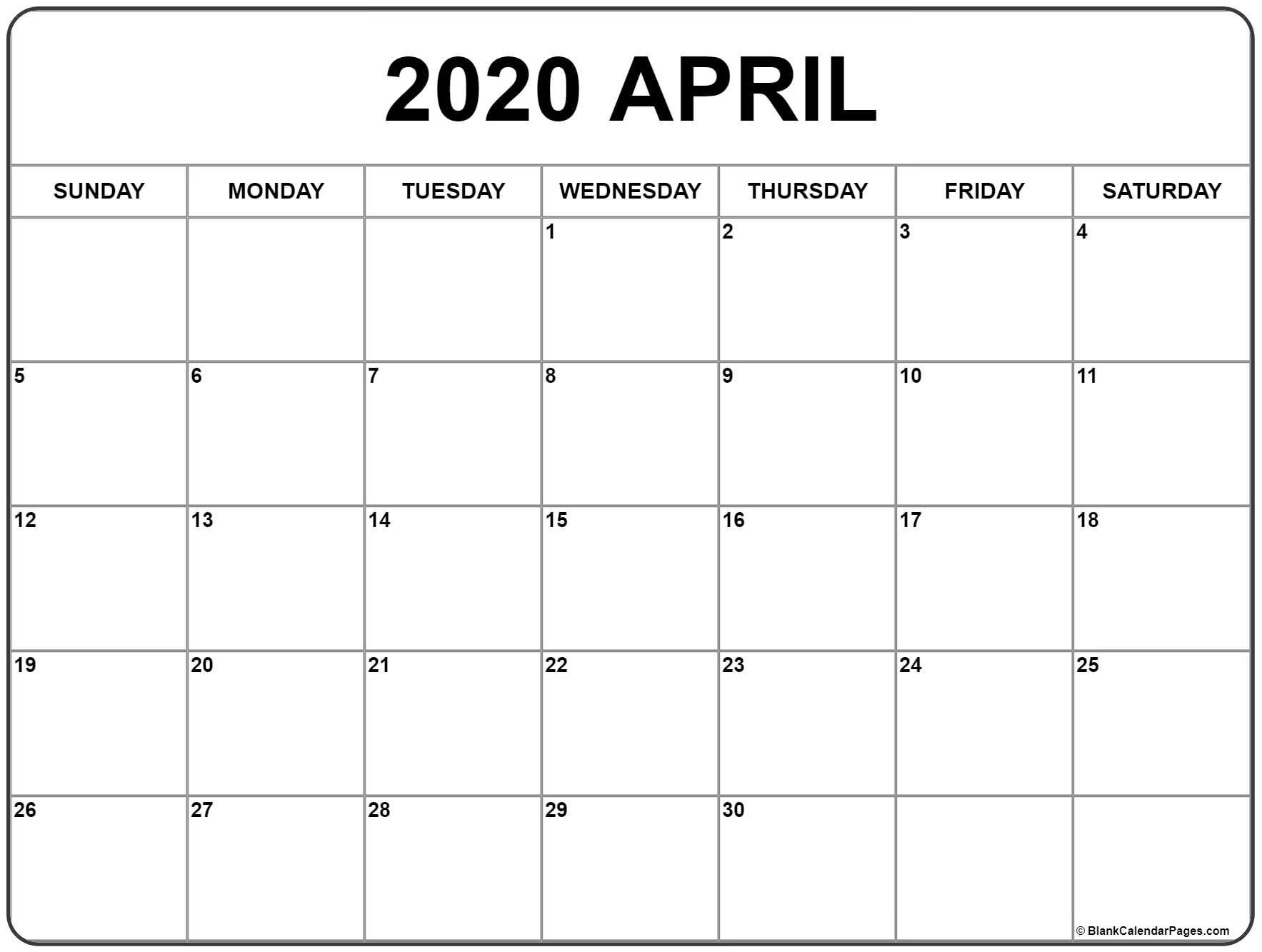 April 2020 Calendar | Free Printable Monthly Calendars for National Day Calendar 2020 Printable