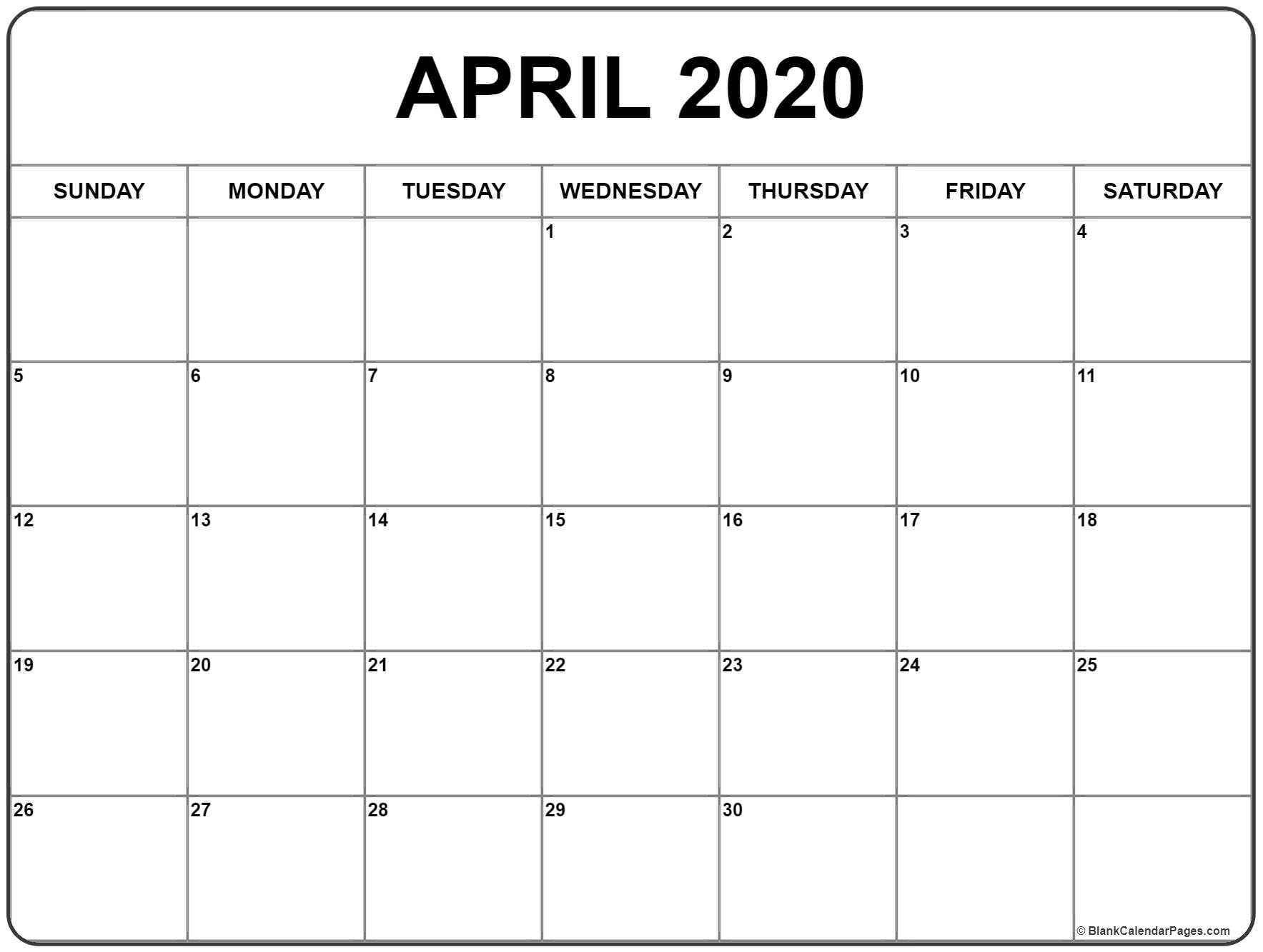 April 2020 Calendar | Free Printable Monthly Calendars pertaining to Blank 2020 Calendar Starting On Saturday Printable Free