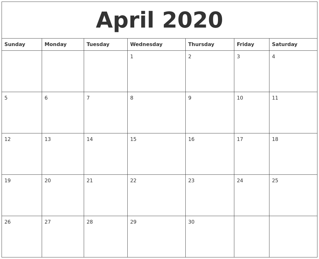 April 2020 Calendar in 2020 Calendar Sunday To Saturday