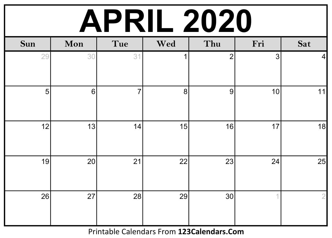 April 2020 Printable Calendar | 123Calendars throughout 2020 Calander To Write On