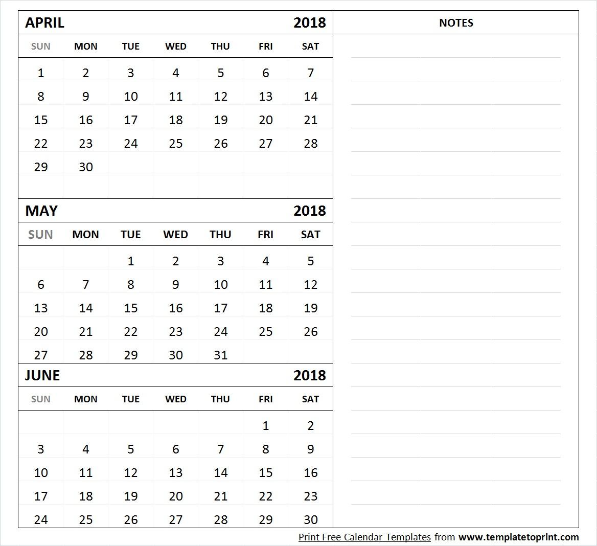 April May June 2018 Calendar Template Printable | 3 Month Calendar pertaining to Printable 3 Month April May June Calendar Template