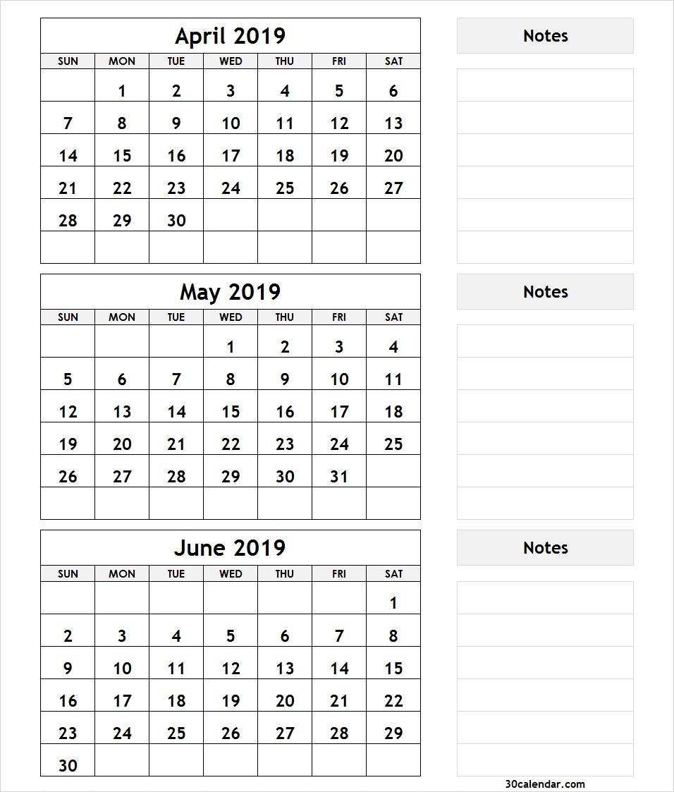 April May June 2019 Calendar | 3 Month Calendar Template throughout Printable 3 Month April May June Calendar Template