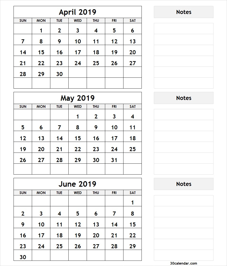 April May June 2019 Calendar Printable Template Pdf, Word, Excel within Blank 3 Month Calendar Template