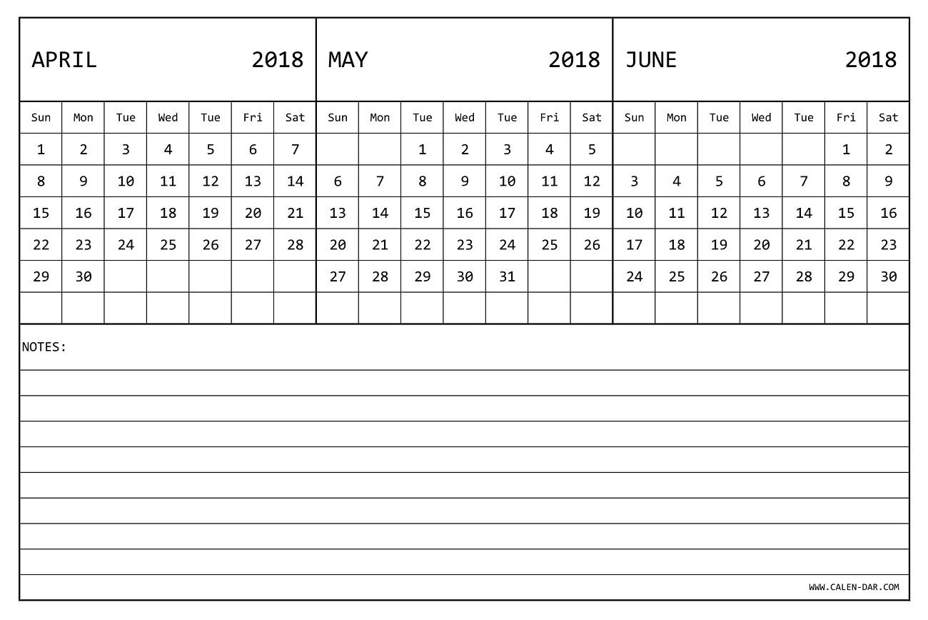 April May June Calendar 2018 | 3 Monthly Calendar Template for Printable 3 Month April May June Calendar Template